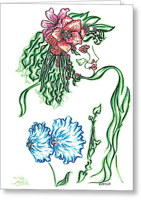 Collection Drawings Greeting Cards - Lady Lilly Greeting Card by Judith Herbert