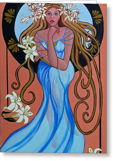 Flowing Blonde Hair Greeting Cards - Lady Lily Greeting Card by Susan Duda