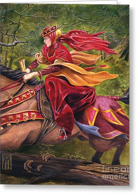 Camelot Greeting Cards - Lady Lunete Greeting Card by Melissa A Benson