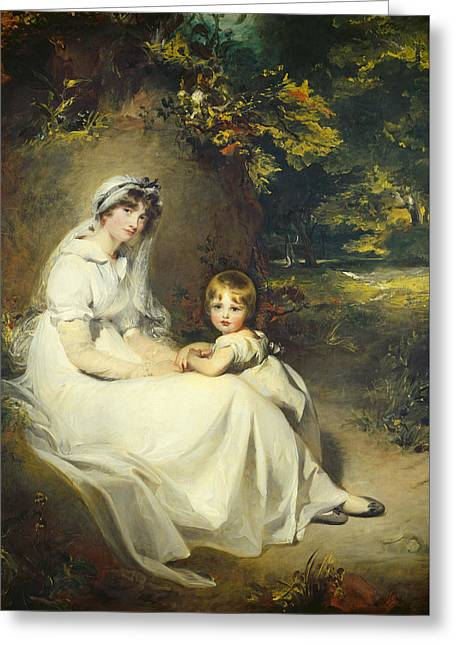 Full Skirt Greeting Cards - Lady Mary Templetown and Her Son Greeting Card by Sir Thomas Lawrence