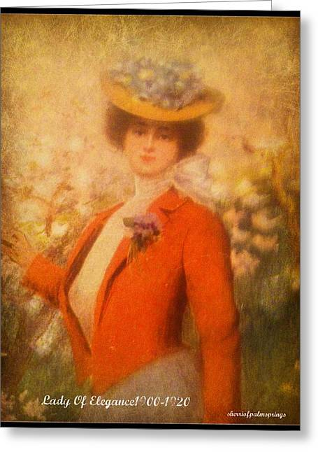 Greeting Cards - Lady Of Elegance 1900 1920 Greeting Card by Sherri  Of Palm Springs