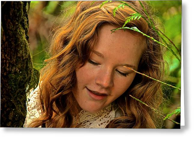 Eyebrow Greeting Cards - Lady of the Forest Greeting Card by Laddie Halupa