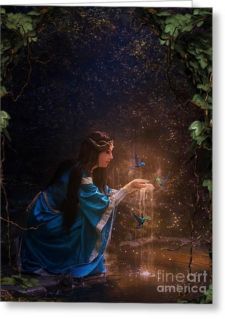 Lady Of The Lake Greeting Card by Babette Van den Berg