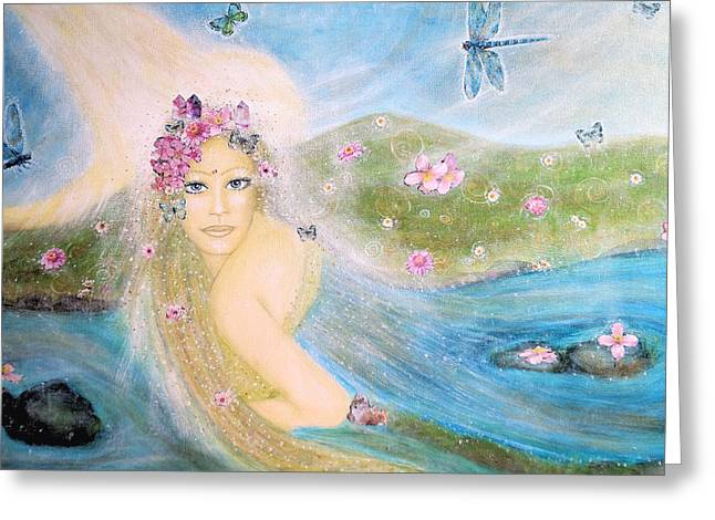 Gaia Mixed Media Greeting Cards - Lady of the lake Greeting Card by Lila Violet