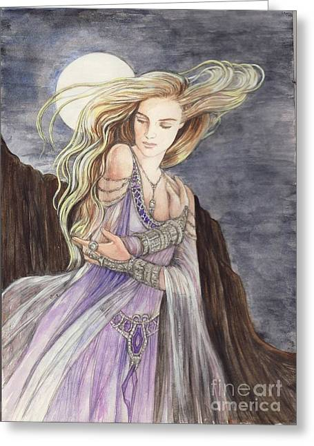Lady Of The Moon Greeting Card by Morgan Fitzsimons