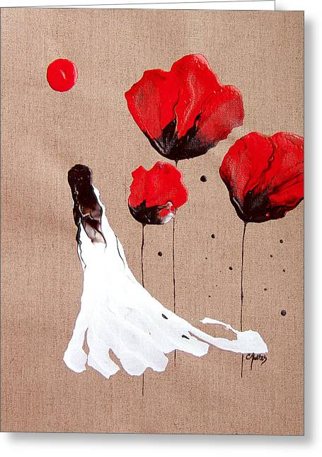 Catherine White Paintings Greeting Cards - Lady Of The Poppies -Contemporary Abstract Woman Red Flowers Fantasy Greeting Card by Catherine Jeltes