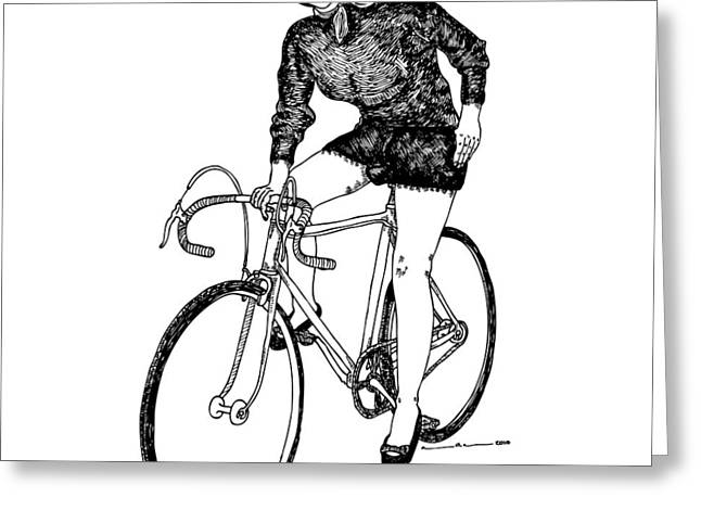 Single Drawings Greeting Cards - Lady On A Bicycle Greeting Card by Karl Addison