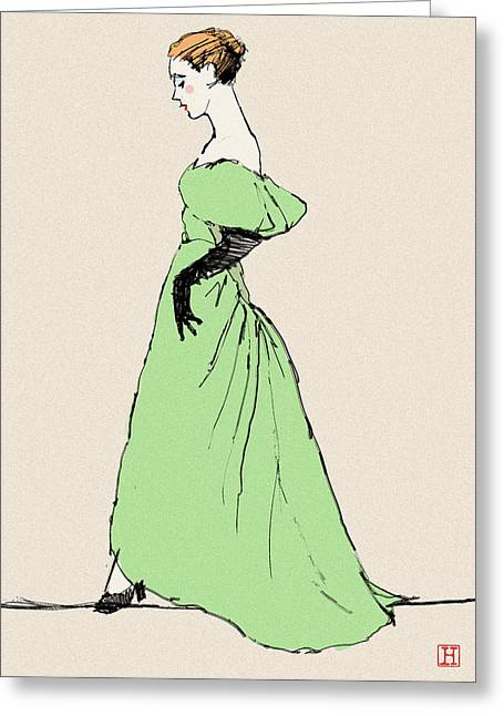 Recently Sold -  - Opera Gloves Greeting Cards - Lady on a Wire Greeting Card by H James Hoff