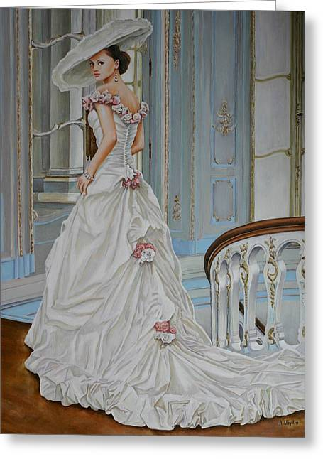 Dress Greeting Cards - Lady on the Staircase Greeting Card by Andy Lloyd