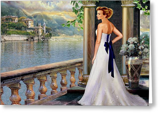 Lake Como Paintings Greeting Cards - Lady on the stairs by Lake Como.  Greeting Card by Gina Femrite