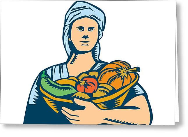 Lady Organic Farmer Produce Harvest Woodcut Greeting Card by Aloysius Patrimonio