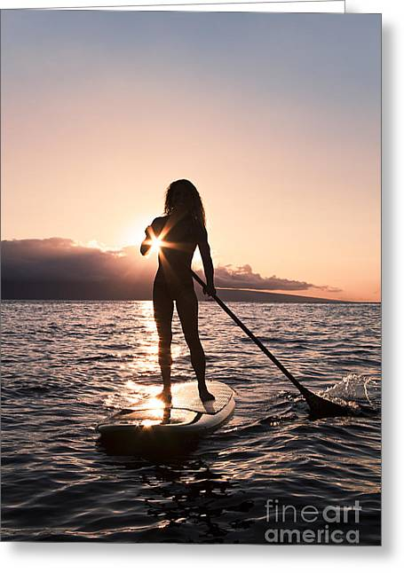 Lady Paddling Greeting Card by Dave Fleetham - Printscapes