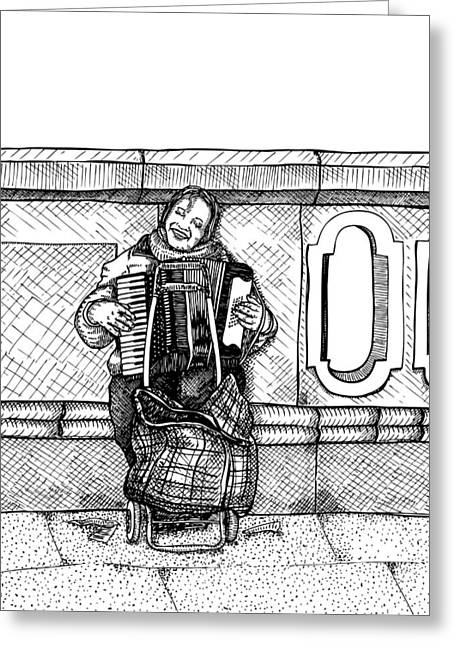 Berlin Drawings Greeting Cards - Lady Playing An Accordion Greeting Card by Karl Addison