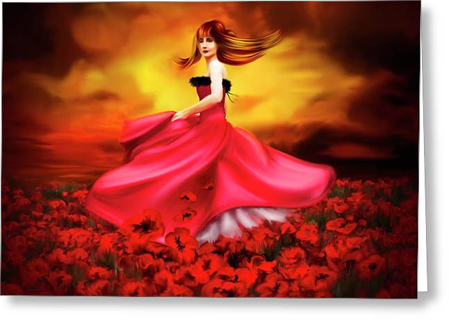 Field. Cloud Mixed Media Greeting Cards - Lady Poppy Greeting Card by Svetlana Sewell