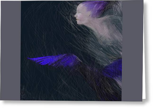 Beauty Pastels Greeting Cards - Lady Raven Greeting Card by Vilja Haapala