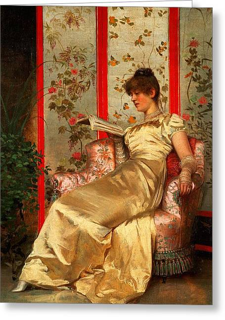 Dressing Room Paintings Greeting Cards - Lady Reading Greeting Card by Joseph Frederick Charles Soulacroix