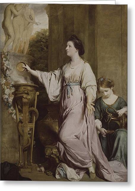 Lady Sarah Bunbury Sacrificing To The Graces Greeting Card by Joshua Reynolds