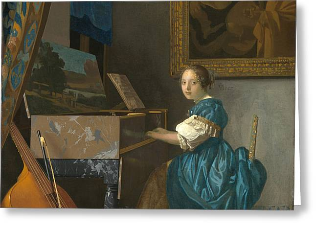 Lady Seated At A Virginal Greeting Card by Johannes Vermeer