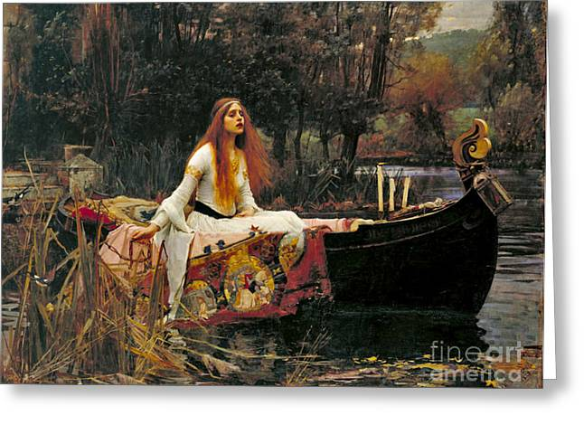 Camelot Greeting Cards - Lady Shalott 1888 Greeting Card by Padre Art