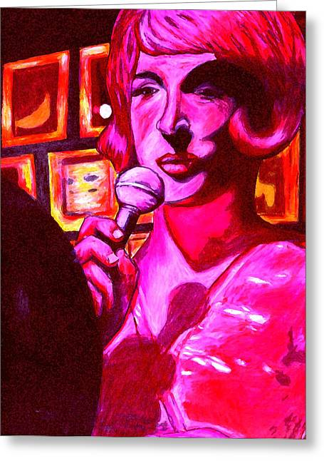 Lady Sings The Blues Greeting Card by Elizabeth Hoskinson