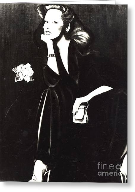 Photo-realism Greeting Cards - Lady Sitting With Rose Greeting Card by Anthony Masterjoseph