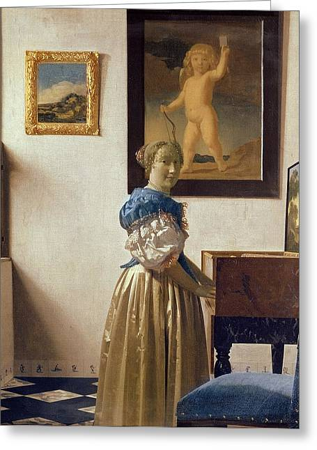 Satin Skirt Greeting Cards - Lady standing at the Virginal Greeting Card by Jan Vermeer