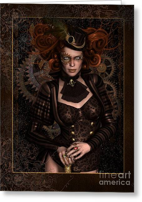 Steam-punk Greeting Cards - Lady Steampunk Greeting Card by Shanina Conway