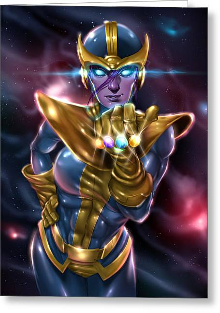 Lady Thanos Greeting Card by Pete Tapang
