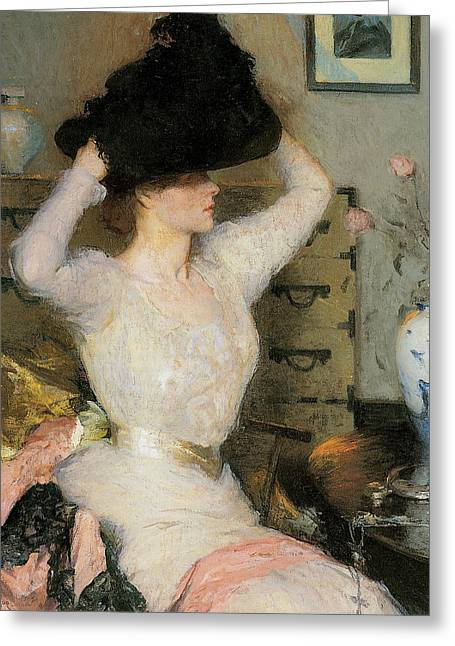 American Artist Greeting Cards - Lady Trying on a Hat Greeting Card by Frank Weston Benson