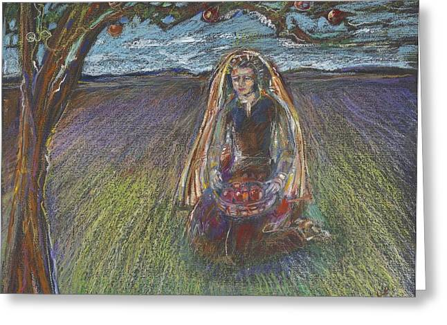 Apple Art Pastels Greeting Cards - Lady under a tree Greeting Card by Laurie Parker