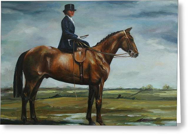 Sidesaddle Greeting Cards - Lady Violet Greeting Card by Beth Munnings