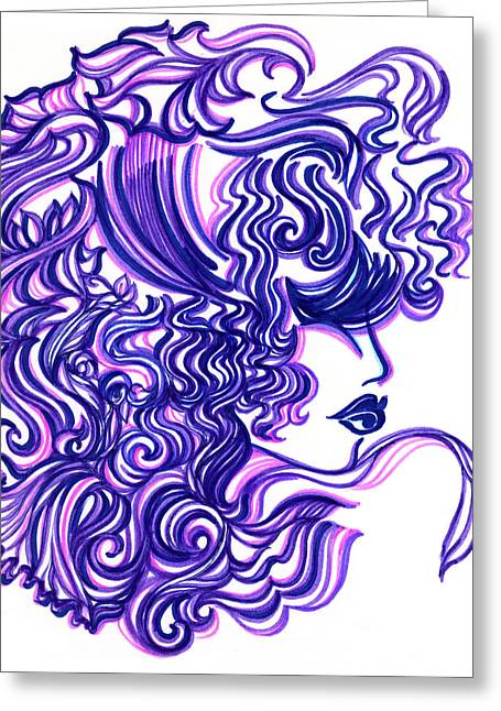 Eve Greeting Cards - Lady Violet Greeting Card by Judith Herbert