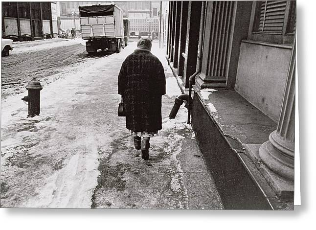 Hydrant Greeting Cards - Lady Walking towards Canal Street on a Snowy Street Greeting Card by Nat Herz