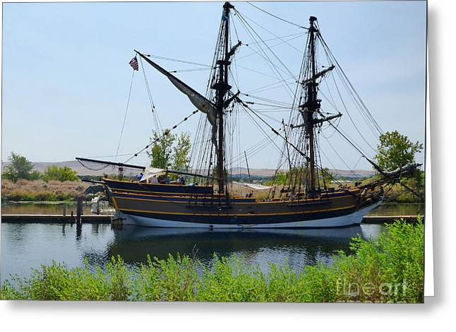 Historic Schooner Greeting Cards - Lady Washington in Pasco Greeting Card by Charles Robinson
