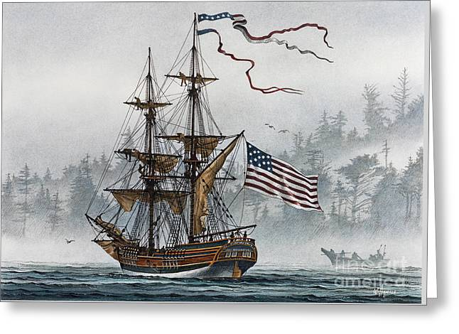 Tall Ship Canvas Greeting Cards - Lady Washington Greeting Card by James Williamson