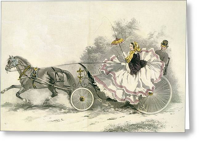 Crinoline Greeting Cards - Lady Wearing A Crinoline And Driving Greeting Card by Ken Welsh