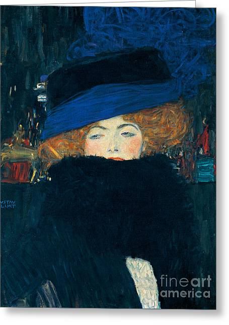 Lady With A Hat And A Feather Boa Greeting Card by Gustav Klimt