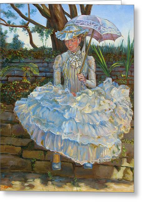 Monet Lady Greeting Cards - Lady with a parasol Greeting Card by Dominique Amendola