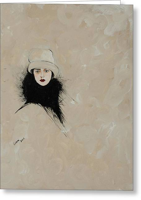 1920s Drawings Greeting Cards - Lady with Black Fur Greeting Card by Susan Adams