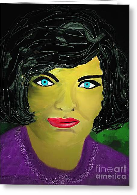 First-lady Greeting Cards - Lady  with blue eyes Greeting Card by Mira Dimitrijevic