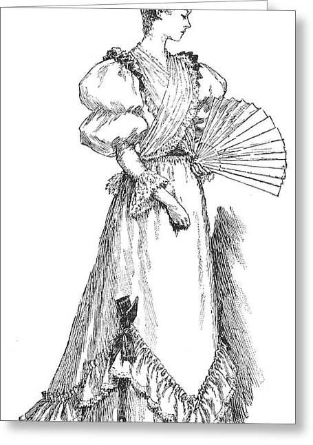 1891 Greeting Cards - Lady With Fan, 1891 Greeting Card by Granger