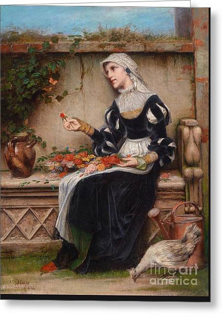 1833 Greeting Cards - Lady With Flowers Greeting Card by Celestial Images