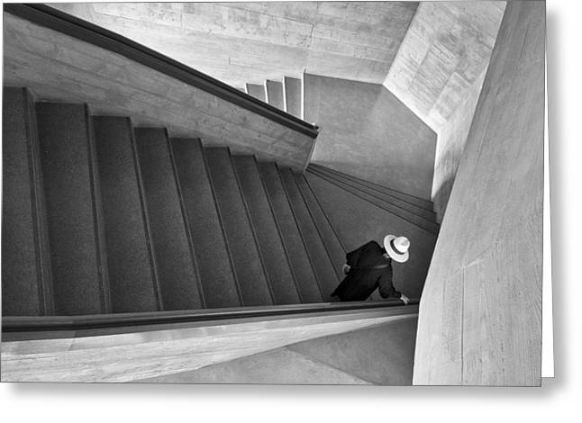 Stairs Greeting Cards - Lady With Hat Greeting Card by Harry Lieber