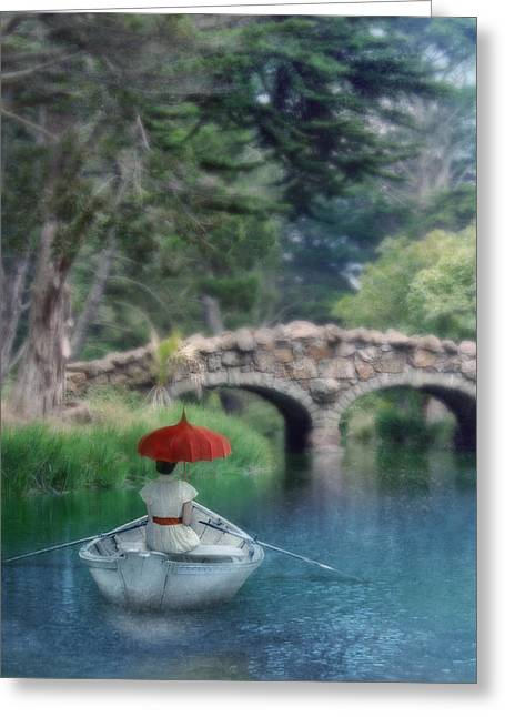 Calm Waiting Greeting Cards - Lady with Parasol in Boat Greeting Card by Jill Battaglia