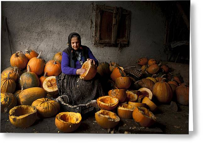 Documentary Photographs Greeting Cards - Lady With Pumpkins Greeting Card by Mihnea Turcu