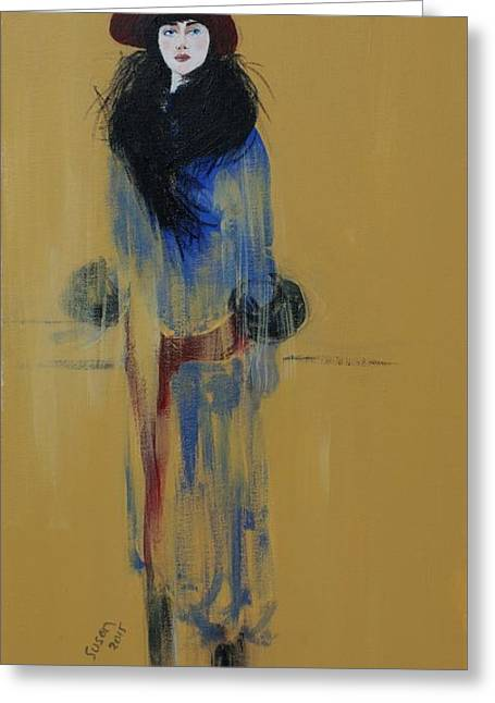 Fashionista Greeting Cards - Lady with Red Hat and Black Fur Greeting Card by Susan Adams