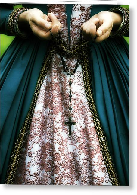 Rosary Greeting Cards - Lady With Rosary Greeting Card by Joana Kruse
