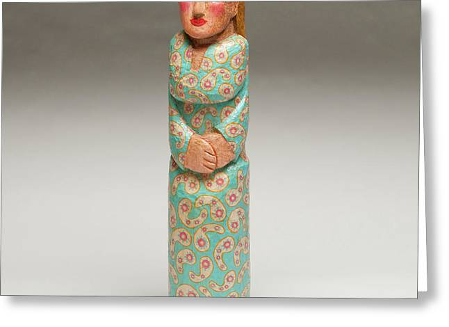 People Sculptures Greeting Cards - Lady with the Blue Dress on Greeting Card by James Neill