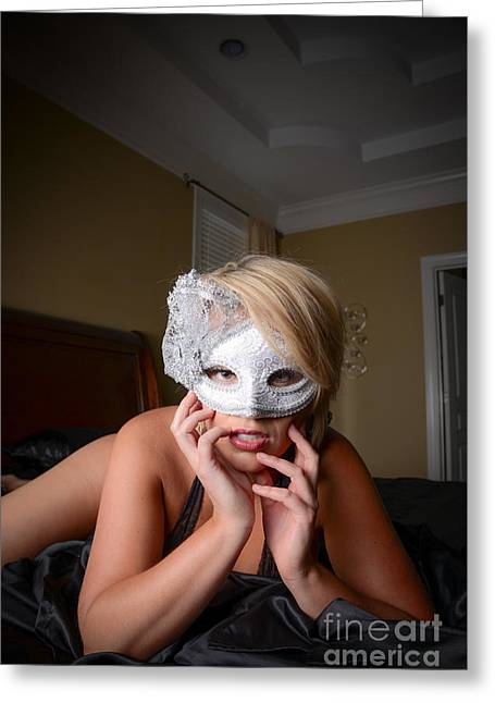 White Cloth Greeting Cards - Lady with the mask 2 Greeting Card by Jt PhotoDesign