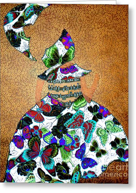 Shade Tapestries - Textiles Greeting Cards - Lady with Umbrella 1 Greeting Card by Kim Peto